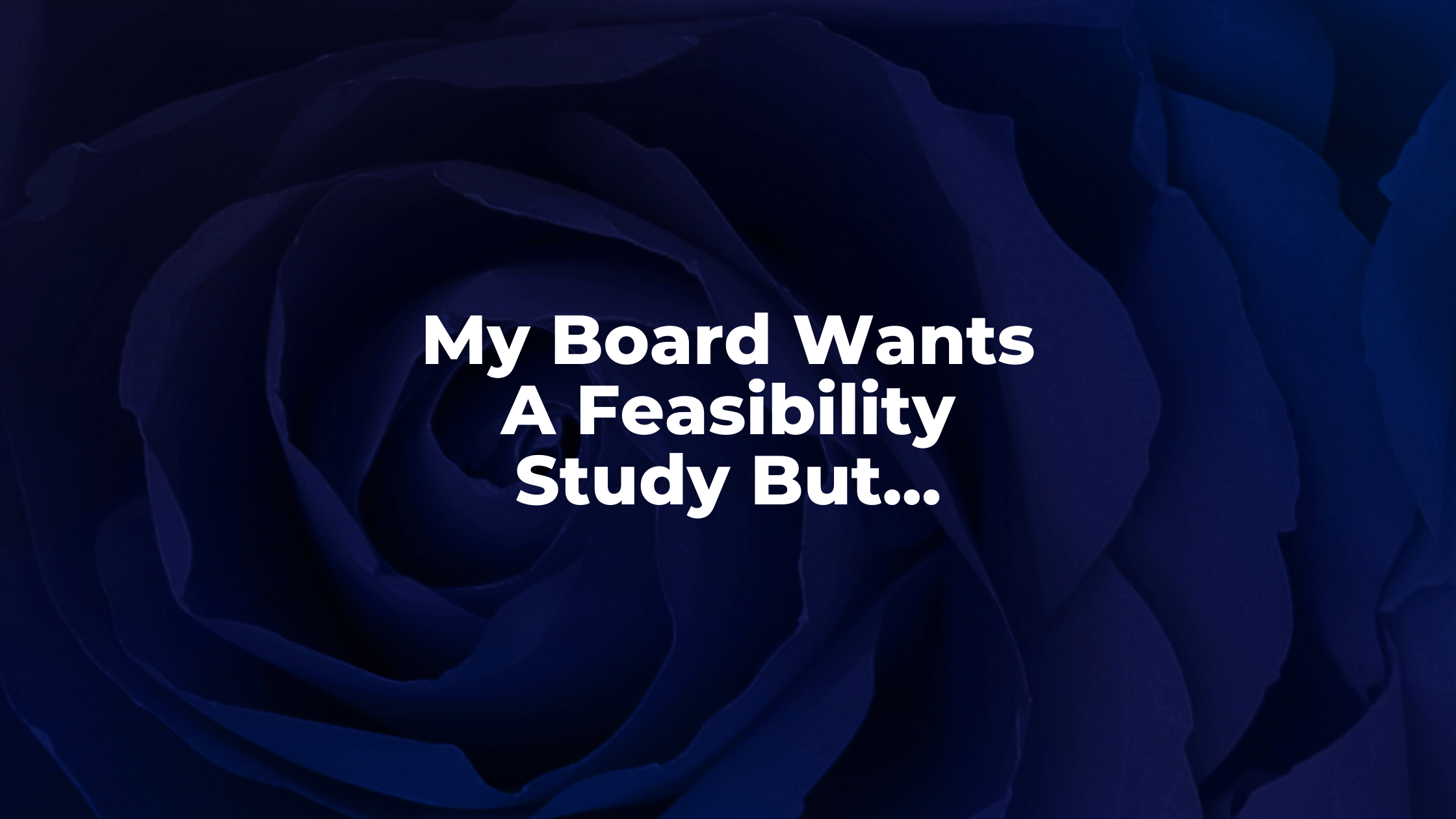 My Board Wants A Feasibility Study But...