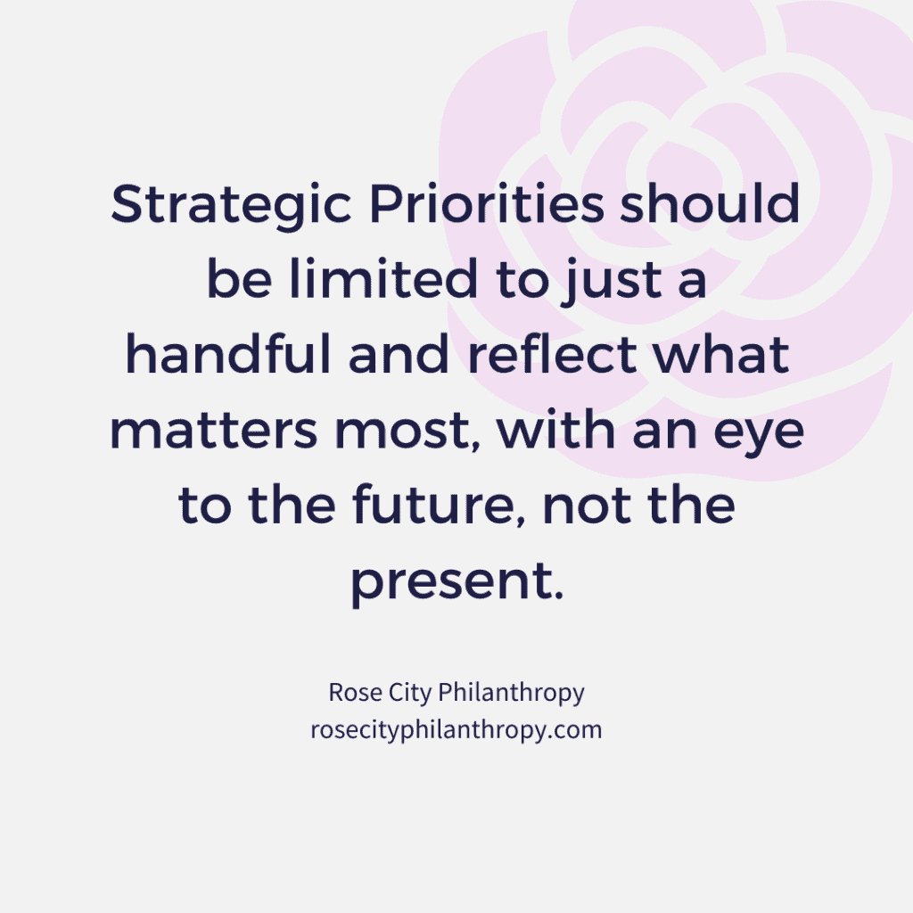 Strategic Priorities should be limited to just a handful and reflect what matters most, with an eye to the future, not the present.