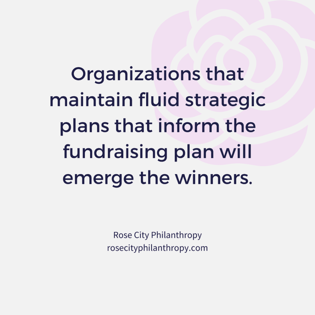 Organizations that maintain fluid strategic plans that inform the fundraising plan will emerge the winners.