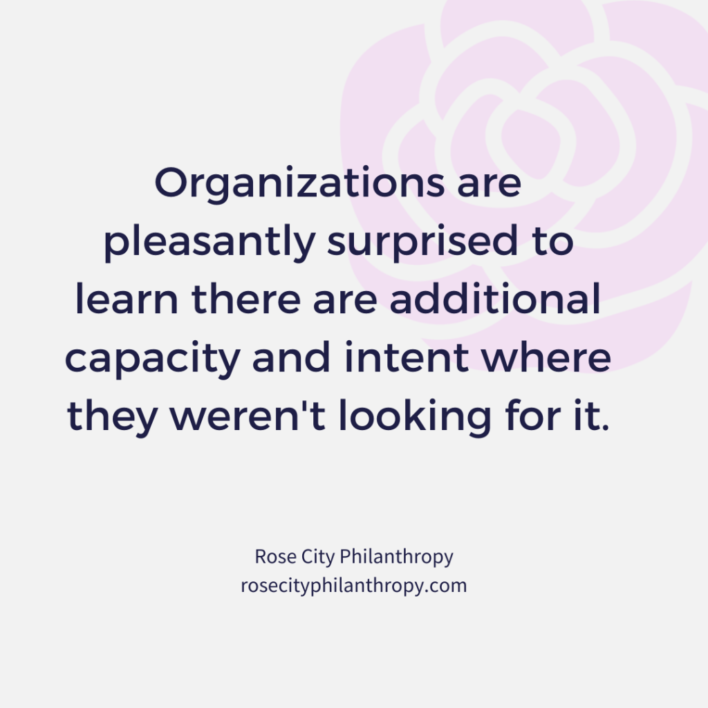 Organizations are pleasantly surprised to learn there are additional capacity and intent where they weren't looking for it.