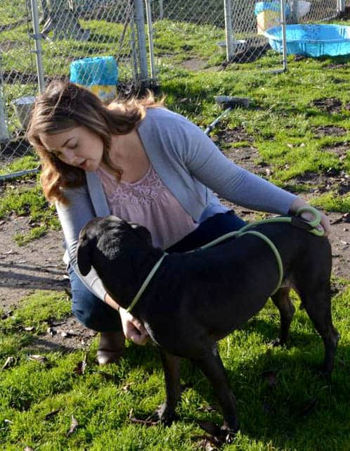 Charmaine Nawrocki and pit bull, Jesse, at the Humane Society of Cowlitz County.