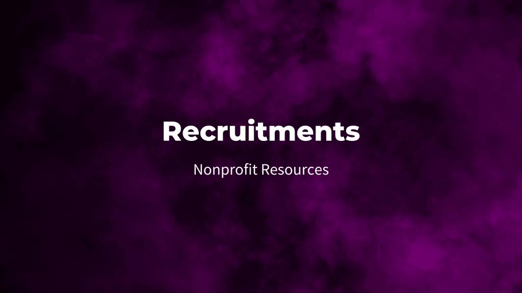 recruitments nonprofit resources